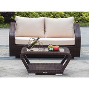 Patio Wicker Loveseat with Coffee Table