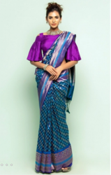 Purple Striped Mirpur Katan Saree.